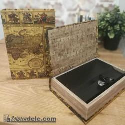 Libro mapamundi caja fuerte secreta