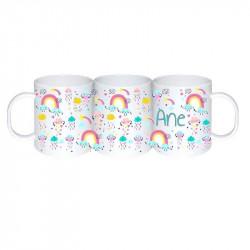 "Taza irrompible personalizada ""arco iris"""