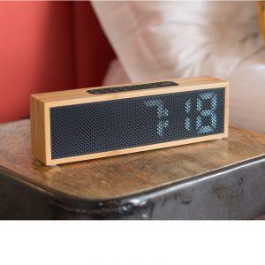 radio reloj altavoz bambú