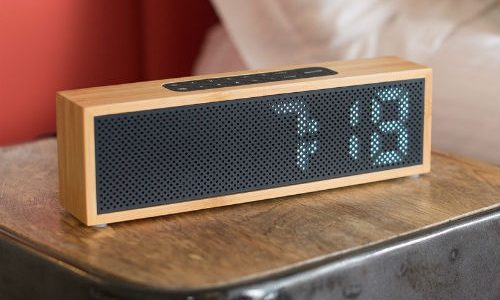 radio reloj despertador bambú