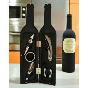 set vino con forma botella